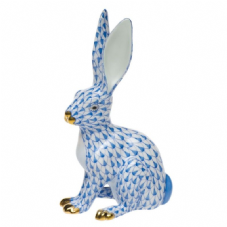 Herend Porcelain Fishnet Figurine of a Hare